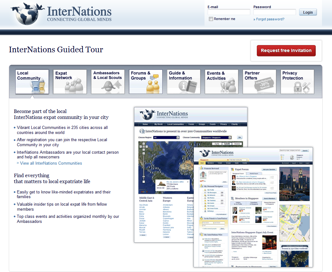 Screenshot of the Guided Tour for the InterNations Expat Community