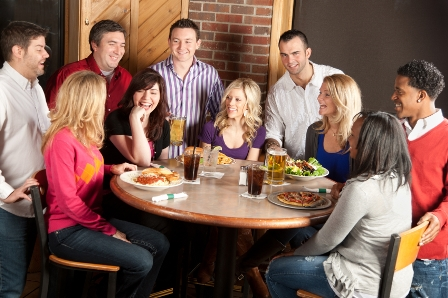 Real People: Adult Couples Night Out Restaurant Bar Laughing Fun
