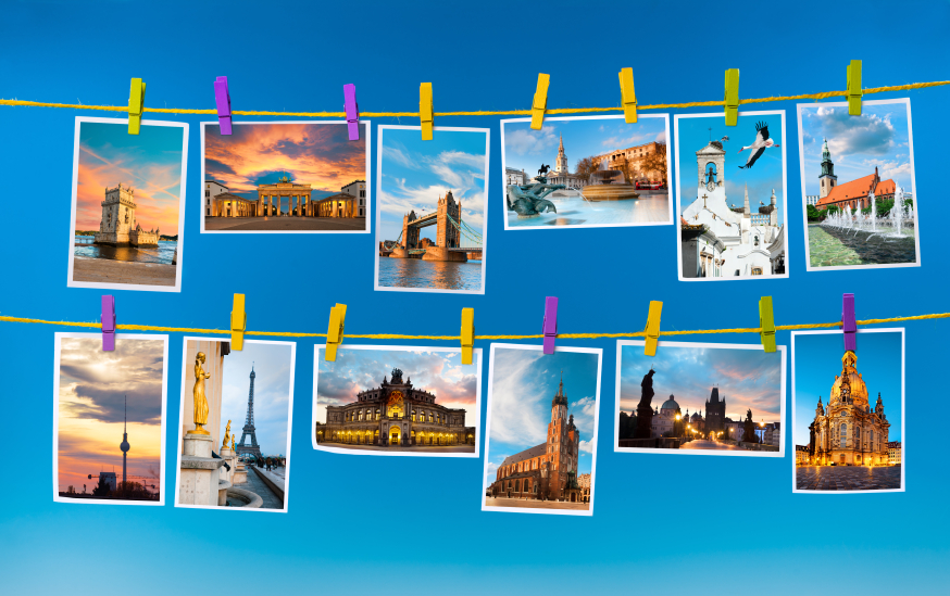 European landmarks, collage