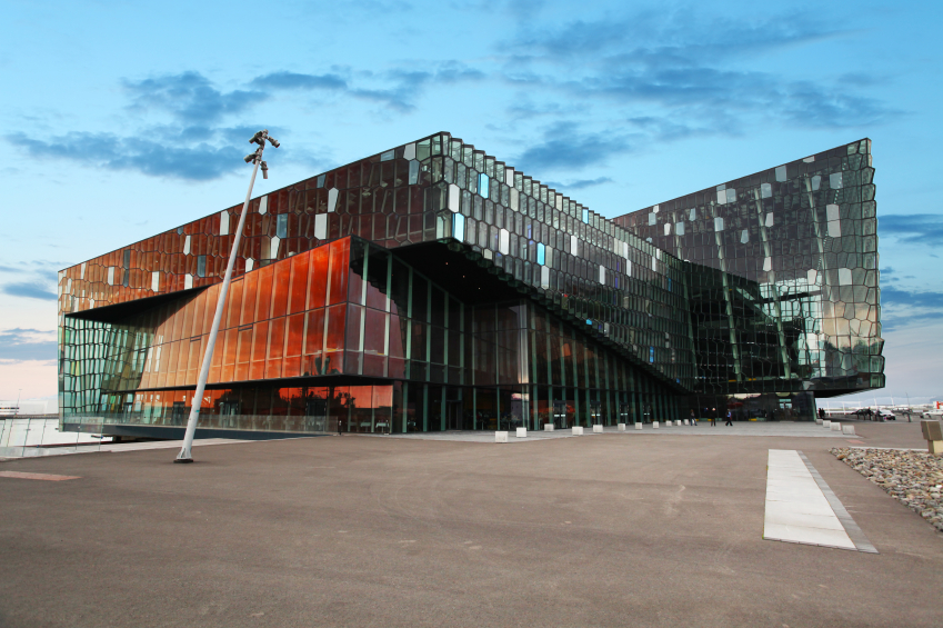 REYKJAVIK, ICELAND - JUNY 9: Twilight scene of Harpa Concert Hal