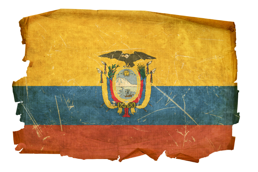 Ecuadorian Flag old, isolated on white background.