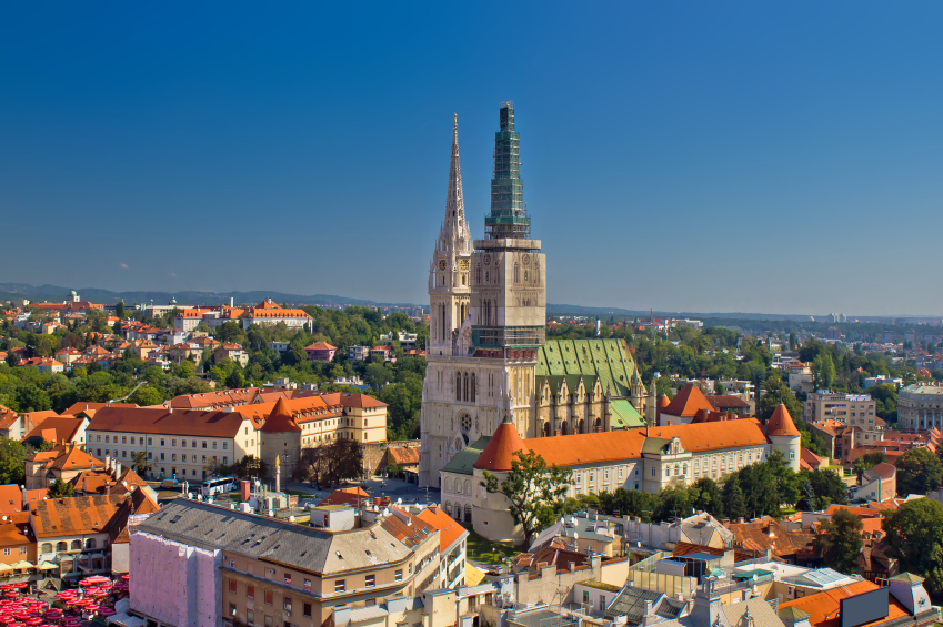 Zagreb cathedral panoramic aerial view