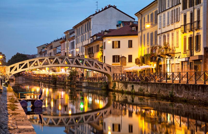 Bridge across the Naviglio Grande canal