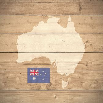 map of Australia with flag on wooden background (3d render)