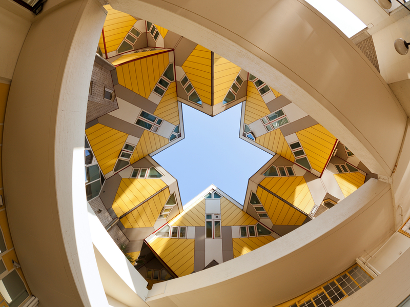 Low-angle shot of yellow cubic houses in Rotterdam