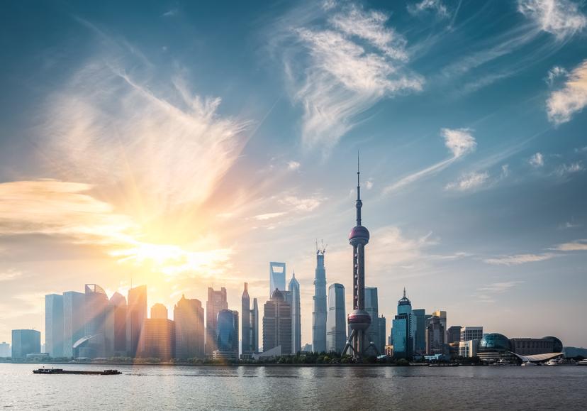 shanghai skyline in sunny morning