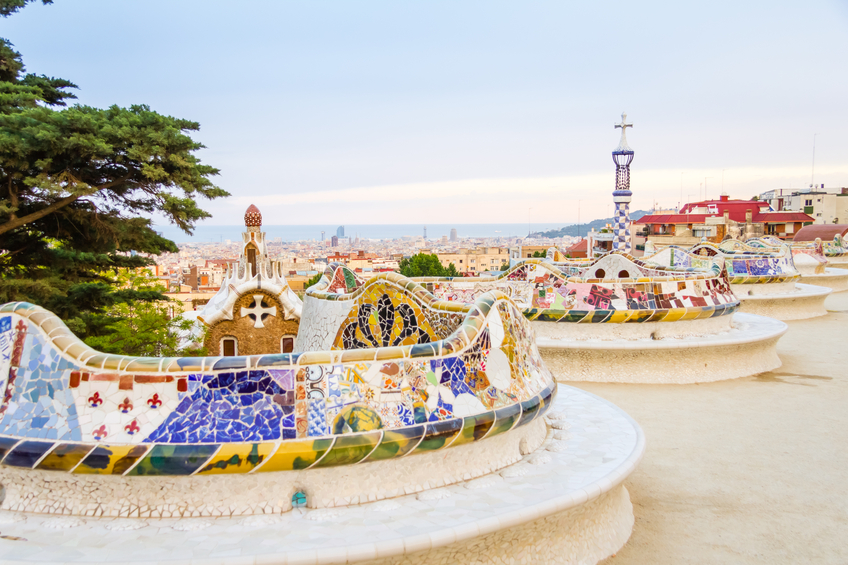 Colorful mosaic benches at the Gaudi-designed Park Guell