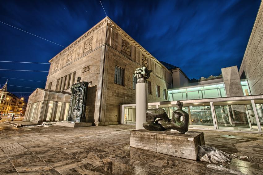 Kunstmuseum in Zurich by night. Switzerland.