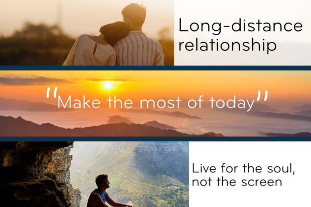 "A photo collage of various visuals posted on social media, including a couple of inspirational quotes, such as ""Live for the soul, not the screen"""