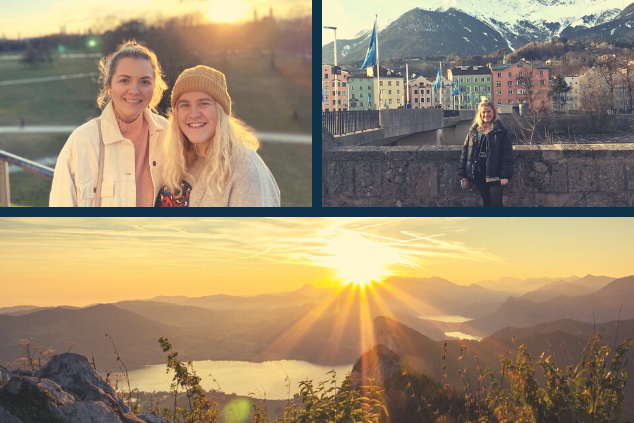 A photo collage of various snapshots, showing Darcie in Salzburg (Austria), Darcie and another InterNations intern, and a sunrise in the Alps