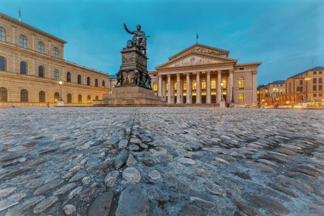 Munich's Max-Joseph-Platz and the Bavarian State Opera at dusk